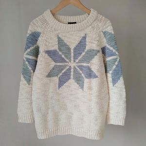 Topshop Nordic Snowflake Chunky Knit Sweater Small